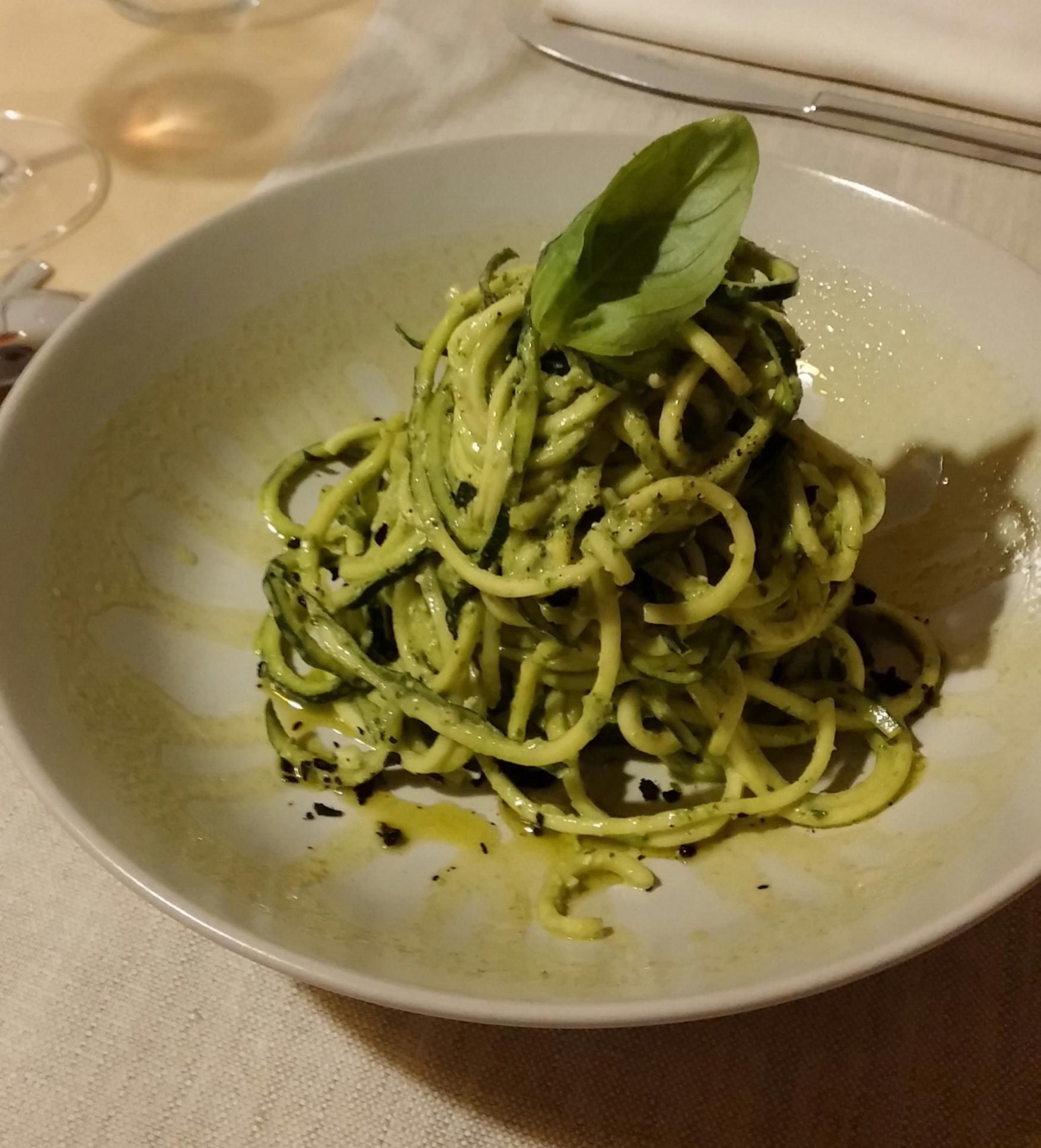 Vegan Zucchini Spaghetti With Basil Pesto