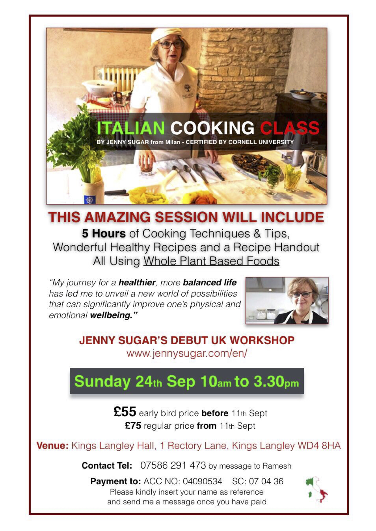 Italian Whole Plant Based Nutrition And Cuisine, Workshop In London